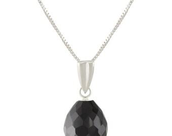 925 Sterling Silver Natural AAA Briolette Drop Melanite Garnet Pendant Necklace