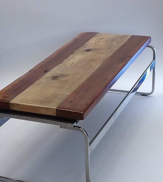 Chrome Bench Coffee Table Reclaimed Wood By