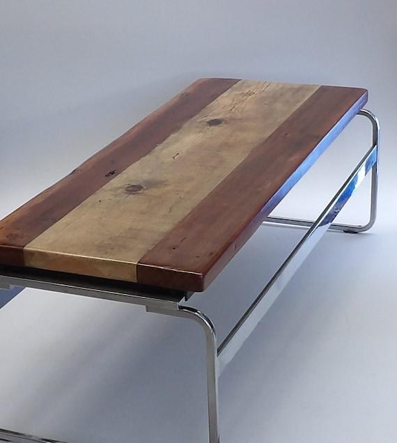 Chrome Bench Coffee Table Reclaimed Wood By Makingmidcenturymod
