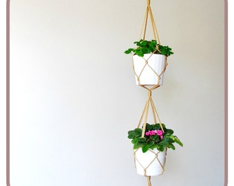 Double Macrame plant hanger - 56 inches long - modern simple style - many colors - brown black white turquoise red yellow green blue