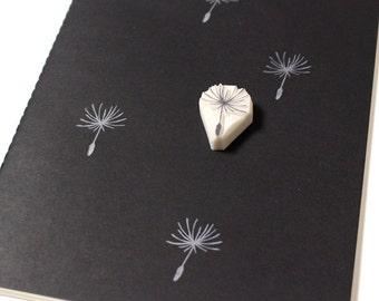 Dandelion seed rubber stamp. Hand carved stamp. Handmade stamp. Unmounted stamp. Cute stamp. Nature stamp.