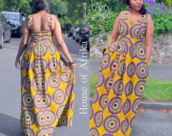 African print maxi dress in multi-coloured print. SALE!!