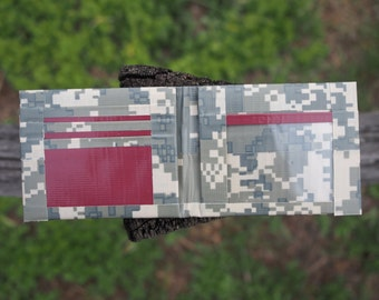Camo and Maroon Duct Tape Wallet