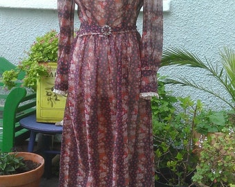 1960s/Early1970s 'Dolly Rockers' British Boutique Label Long Flowered Maxi Dress- 'Peasant' Style- VGC -Approx.Size 10