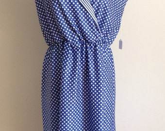 Vintage 70s / 80s Polka Dot & Striped Casual Dress / Blue Short Sleeve Day Dress / Slouchy Dress Size Large L