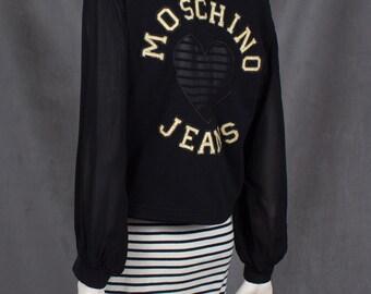 Vintage MOSCHINO Sheer Sleeved Hoody With Sheer Mesh Heart and Branding