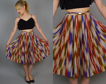 Sale 70s Sheer WATERCOLOR vtg MIDI Skirt XS/Small High Waist Was 45.00