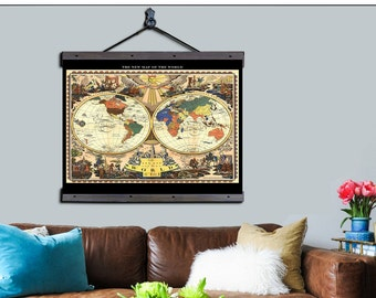 """World Pull Down Map. World Map 1928, 48""""w x 36""""h,  School Chart, School Map, Wall Chart, Hanging Map, Antique wall map,  The World 1928"""