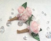 Peony boutonniere and corsage, Blush wedding paper Groom boutonniere, Prom corsage, Prom boutonniere, Fake Flower Corsages, Peony corsages