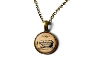 Airship necklace Steampunk pendant Victorian jewelry NW262