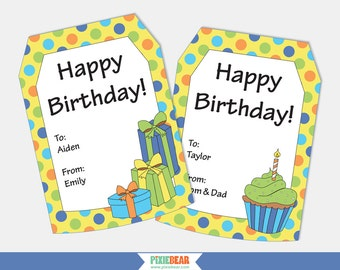 Personalized Gift Tags - Birthday Gift Tags - Personalized Birthday Tags - Happy Birthday Tags - Printable Tag - Editable (instant Download)