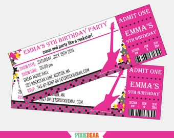Rock Star Birthday Invitation - Rockstar Party Invitation - Rock Star Invitation - Rock Star Party - Guitar Invitation (Instant Download)