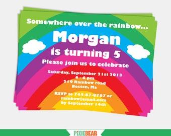 Rainbow Party Invitation - Rainbow Birthday Invitation - Rainbow Invitation Printable - Rainbow Editable Invitation (Instant Download)