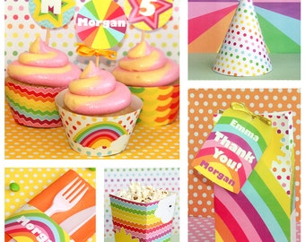 Rainbow Party - Rainbow Birthday - Rainbow Party Printables - Pastel Rainbow Party - Rainbow Birthday Decorations (Instant Download)