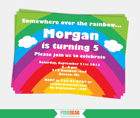 Rainbow party invitation rainbow birthday invitation rainbow il570xn stopboris Image collections