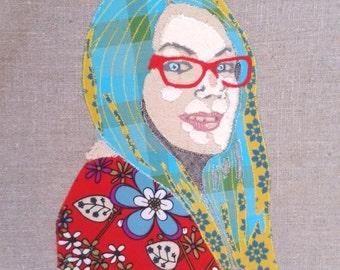 Personalised fabric applique portrait