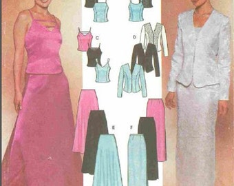 Simplicity 7010 Evening Jacket-Skirt-Tops, Jacket Uncut Pattern Flared and Slim Skirts Misses Sizes 6,8,10,12 or 14, 16, 18, 20