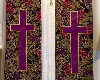 SALE - Purple Lenten Clergy Stole w/ Cross and Colors (Deacon)