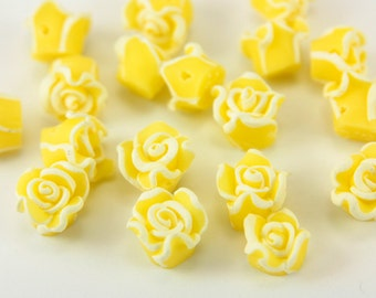 Polymer Clay Bead, 20pcs Polymer Clay Beads, Yellow Flower Rose Polymer Clay Bead, Handmade Polymer Clay Bead, Flower Polymer Clay Bead