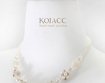 simple and gorgeous 1line linked pearl necklace with flower shape