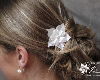 Peigne mariage cheveux fleurs de soie supperposées, bijoux de mariées, accessoires coiffures - Bridal silk flowers haircomb