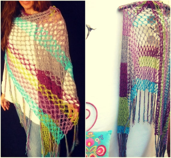 Crochet Pattern For Bohemian Shawl : Crochet Net Shawl. Bohemian Crochet Stole. All Seasons Boho