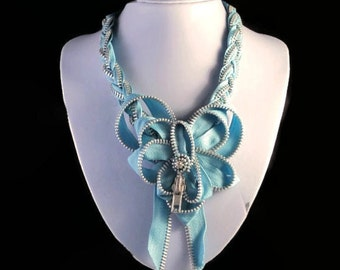 Long Bold Braided Baby Blue Zipper Statement Necklace with Large Blue Zipper Bow Novelty Spring Summer Accessory Free Shipping to USA