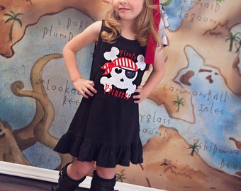 Girl's Pirate Princess Dress with Embroidred Name