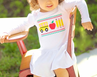 Girl School Dress with Faux Smocked School Bus and Embroidered Name
