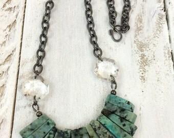 Chandelier Stone Necklace Vintage Chandelier Crystal Chain Necklace Speckled Green Olive Stone Granite Gunmetal