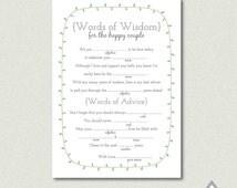 Printable Wedding Libs, Laurel Wedding Libs, Wedding Mad Libs, Reception Mad Libs, Printable PDF, Wedding Printables, DIY, Guest Libs