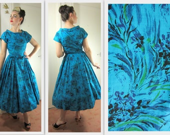 VIBRANT 1950's New Look Style Abstract Floral Print Dress  - VLV  - Size S/M