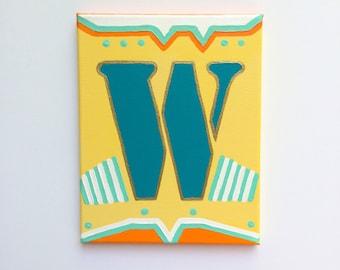 Letter Art, Letter Painting, Letter W, Painting, Nursery Letters, Nursery Letter Wall Art, Letter W