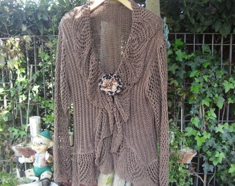 Cardigan elegant brown