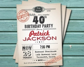 30th surprise birthday party invitation man woman retro too filmwisefo