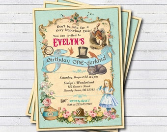Alice in wonderland birthday invitation. Alice in Onederland girl first 1st birthday party invitation. Mad hatter tea party invite KB165