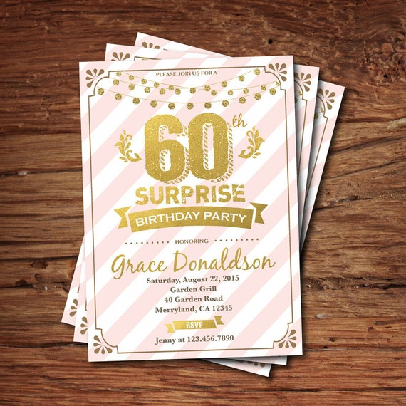 Surprise 60th Birthday Invitation. Woman. Pink Stripes And