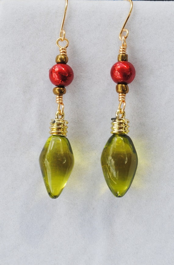 Christmas earrings; green christmas light earrings; holiday earrings ...
