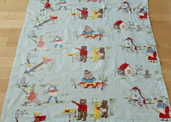 Vintage juvenile barkcloth fabric nursery rhymes for Retro nursery fabric