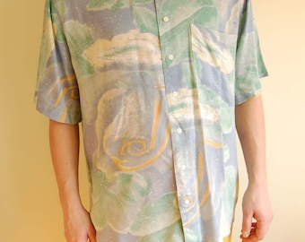 Vintage Men Shirt in Pastel Tones with Abstract Print size L/XL