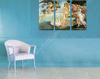 "30% OFF! Canvas Print ""Venus"" By Botticelli Set of 3 Panels Fine Art Giclee Gallery Decoration Wall Art Reproduction Photos Poster"