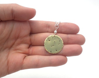 Orion Constellation Necklace | Hand-Stamped Zodiac Long Necklace