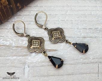 Brass Medieval Earrings, Jet Black Crystal Drop Ear Rings, Antiqued Gold and Black Rhinestone Earrings with Swarovski Crystals, Handmade UK