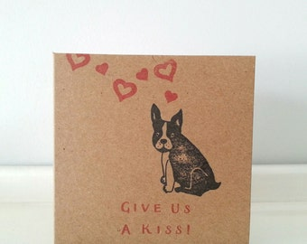 "Cheeky Wedding Card / Engagement Card: French Bulldog 'Give Us A Kiss' Congratulations Card, 4"" x 4"" Square."
