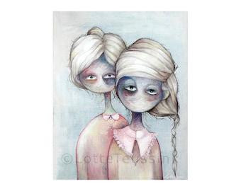 Gothic card, surreal painting by Lotte Teussink, pop surrealism, lowbrow art, fantasy art, big eyed girls, weird art, folk greeting card, NL