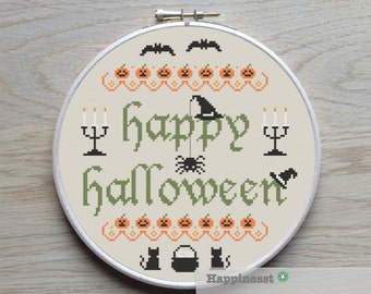 Halloween cross stitch pattern, happy halloween, PDF, DIY ** instant download**