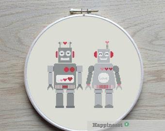 cross stitch pattern robot, robot LOVE, Valentine , PDF,  ** instant download**