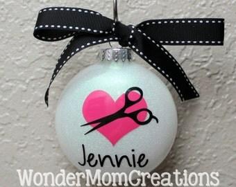 Hair Stylist Ornament; Hairdresser Ornament; Personalized Hair Stylist Ornament