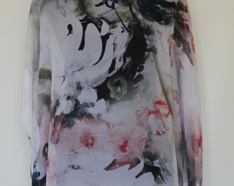 Digital Print Poly CHIFFON CAFTAN KAFTAN Top Sheer light one size fits most