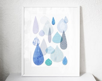 Rain drops giclee art print available in sizes Din A4, Din A3 and Din A2 printed with archival pigment inks on archival paper